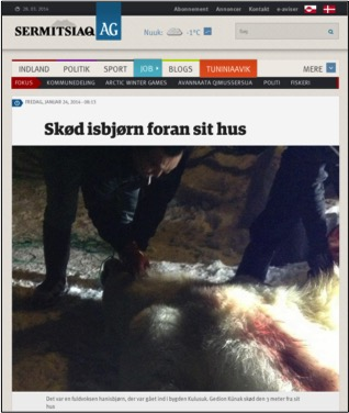 Screenshot from Sermitsiaq AG newspaper on-line
